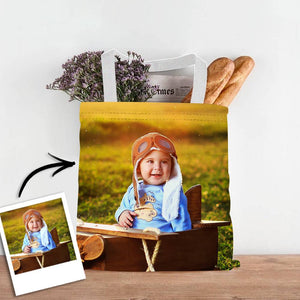 Custom Baby Photo Upload Design Your Own Double Sided Tote Bag