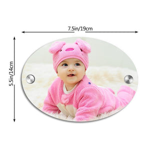 Custom Photo Door Signs Personalized House Signs Plates Door Plates Oval - Baby Newborn Gifts