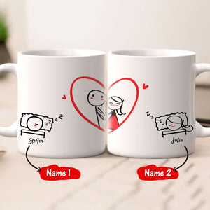Personalized Name Couple Mug Set - You are in my dreams