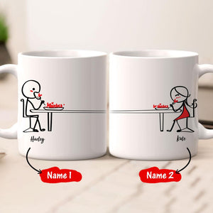 Personalized Name Couple Mug Set - Loving breakfast time