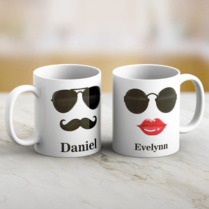 Personalized Sunglasses Lover Couple Mug Set with Names Print Both Sides