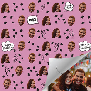 Custom Face Gift Wrap-Birthday Comic Balloons