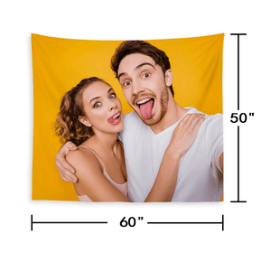 Custom Couple Photo Tapestry Short Plush Wall Decor Hanging Painting