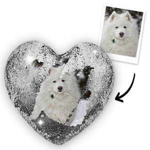 Custom Photo Pet Magic Heart Sequins Pillow