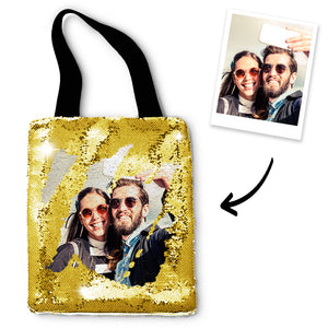 Personalized Sequins Tote Bag with Photo of Your Lover