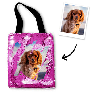 Personalized Sequins Tote Bag with Photo of Your Pet