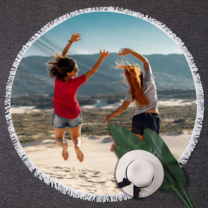 Custom Round Photo Towel Unique Gift Tassel Beach Mat for Friends