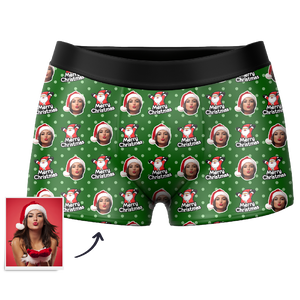 Men's Christmas Hat Custom Santa Claus Face Boxer Shorts