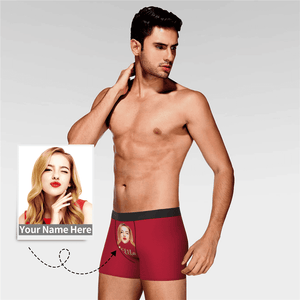 Custom Men's Face And Name Colorful Boxer Shorts