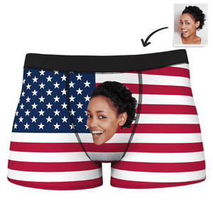 Men's Custom Face Boxer Brief - USA Flag