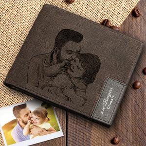 Men's Custom Photo Wallet - Happy Moment with Dad
