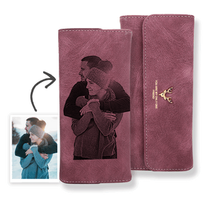 Personalized Wallet | Custom Photo Engraved Wallet | Women's Trifold Long Leather Wallet