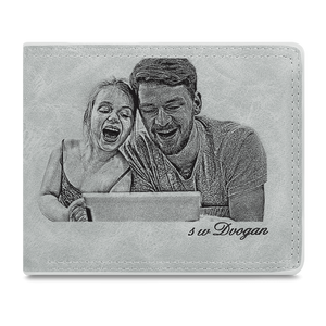 Men's Custom Photo Wallet - I'm Glad To Accompany My Father