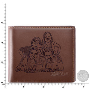 Men's Trifold Custom Photo Wallet - Brown