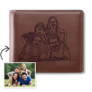 Men's Trifold Brown Custom Photo Wallet