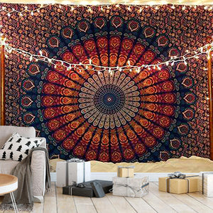 Indian Hippie Bohemian Psychedelic Peacock Mandala Tapestry, Wall Decor Hanging Tapestry