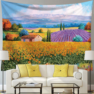 Sunset Sunflower Tapestry, Wall Decor Hanging Tapestry