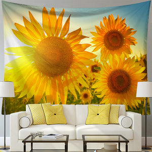 Golden Sunflower Tapestry, Wall Decor Hanging Tapestry