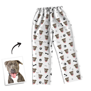 Multi-Color Custom Dog Photo Long Sleeve Pajamas, Sleepwear, Nightwear - Bone