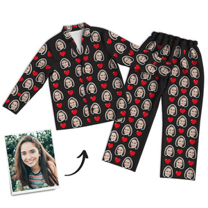 Multi-Color Custom Photo Long Sleeve Pajamas, Sleepwear, Nightwear - Heart