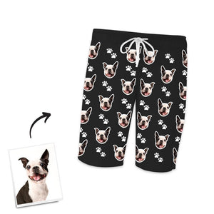 Custom Dog Photo Short Pajama Pants, Nightwear, Sleepwear, Footprints
