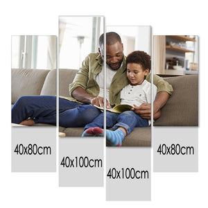 Father's Day Gifts Custom Photo Wall Decor Painting Canvas 4 pieces