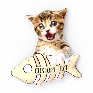 Kitten And Fishbone Exclusive 3D Portrait Throw Pillows