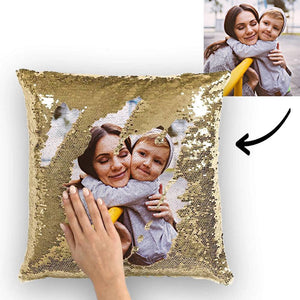 "Custom Family Photo Magic Sequins Pillow Multicolor Shiny 15.75""*15.75"""