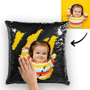 "Custom Love Baby Photo Magic Sequins Pillow Multicolor Shiny 15.75""*15.75"""