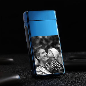 Father's Day Gifts Men's Personality Custom Electric Blue Perfect Family Photo Lighter, Engraved Lighter