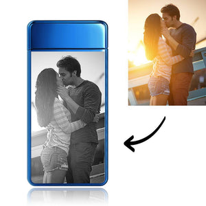 Custom Men's Electric Blue Couple Gift Photo Lighter, Engraved Lighter