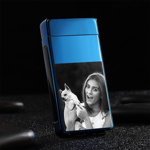 Men's Personality Custom Electric Blue Cute Pet Photo Lighter, Engraved Lighter