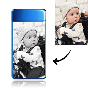 Father's Day Gifts Custom Men's Electric Blue Baby Smile Photo Lighter, Engraved Lighter