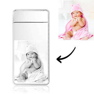 Men's Personality Custom Electric Blue Baby Smile Photo Lighter, Engraved Lighter