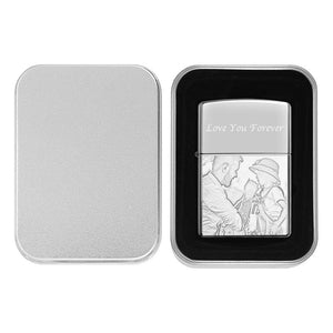 Creative Photo Engraved Lighter Personalized Gift For Dad - Silver (No Kerosene Included)