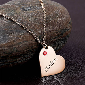 Heart Tag Personalized Birthstone Necklace With Engraving Rose Gold Plated Silver