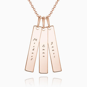 Bar Engraved Bar Necklace Rose Gold Plated Silver