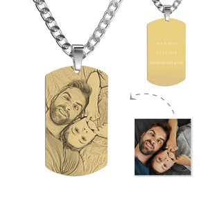 Gifts for Dad Stainless Steel Photo Dog Tag Engraved Photo Pendant 18k Gold Plated