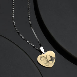 Stainless Steel Women's  Photo Engraved Heart Pendant 18k Gold Plated