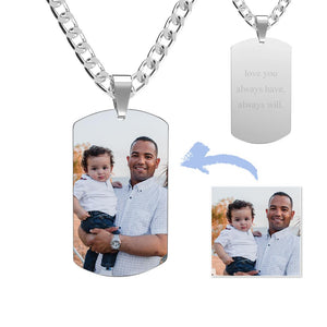 Stainless Steel Dog Tag Photo Pendant