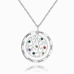 Filigree Family Tree Birthstone Necklace With Engraving Silver
