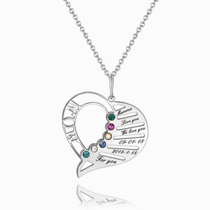 Heart Birthstone Necklace With Engraving Silver