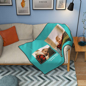 Custom Kids Fleece Photo Blanket with 2 Photos