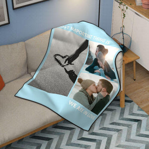 Personalized Love Fleece Photo Blanket with 3 Photos