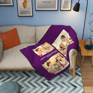 Custom Perfect Love Fleece Photo Blanket with 3 Photos