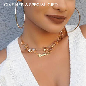 Layered Stars Name Necklace Set Of 2 14K Gold Plated