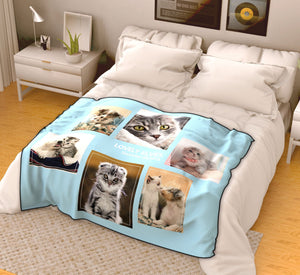 Custom Pets Fleece Photo Blanket with 6 Photos