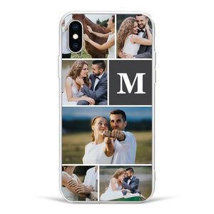 Custom 6-Photo Collage iPhone Case - Single Letter