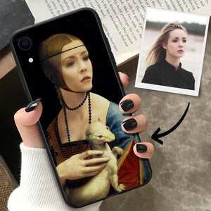 Lady with an Ermine Swap Face iPhone Case with Your Face