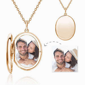 Oval Photo Locket Necklace With Engraving Rose Gold Plated